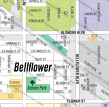 Bellflower Map - PDF, editable, royalty free