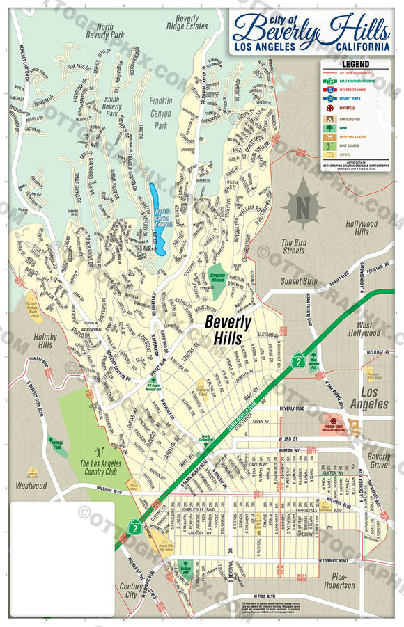 Beverly Hills Map - PDF, editable, royalty free