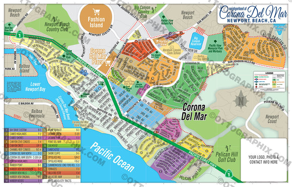 Corona Del Mar Map - PDF, layered, editable