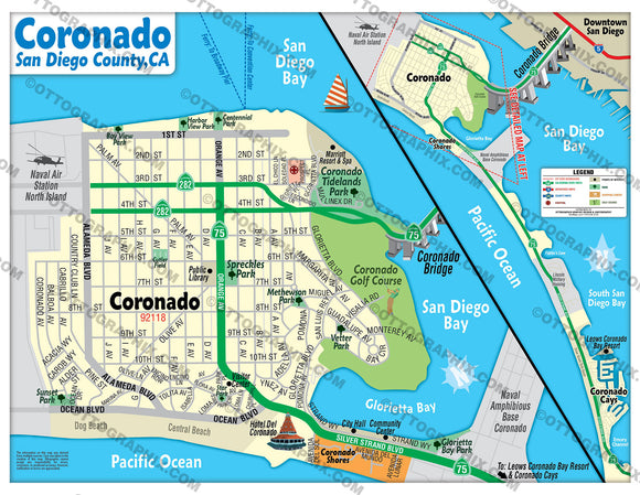 Coronado Tourist Map, San Diego County, CA