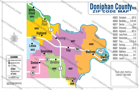 Doniphan County Zip Code Map - pdf, editable, royalty free