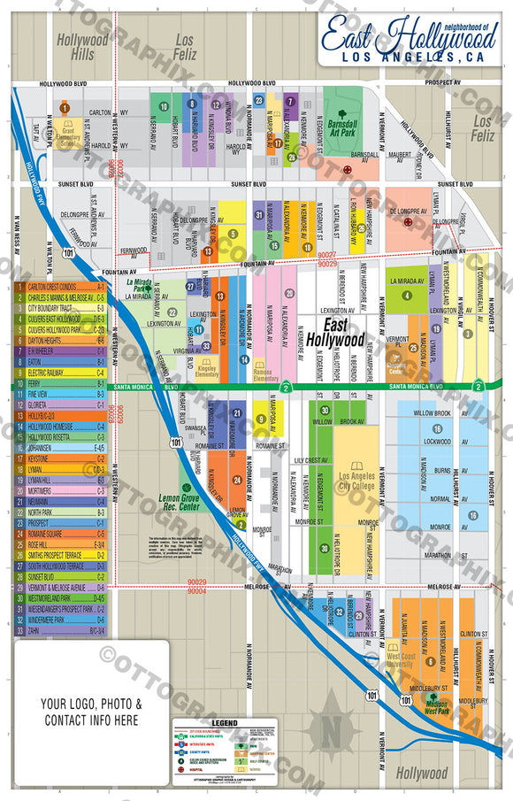 East Hollywood Map - PDF, layered, editable