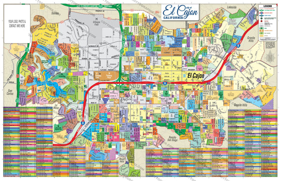 El Cajon Map - PDF, editable, royalty free