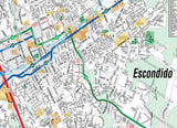 Escondido Map with Street Index, San Diego County, CA