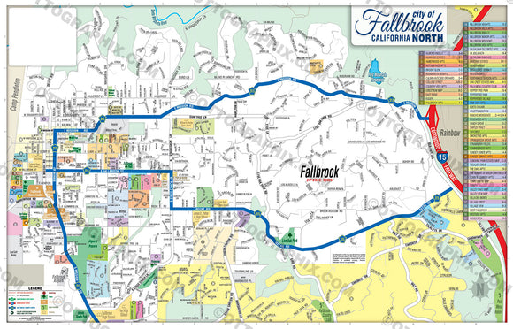 Fallbrook Map NORTH, San Diego County, CA
