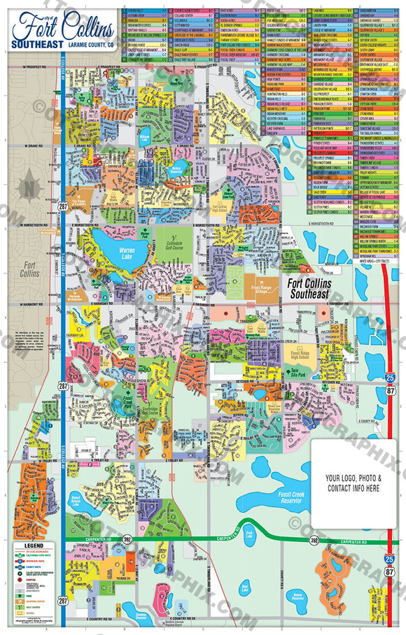 Fort Collins Map, Colorado - PDF, layered, editable, royalty free