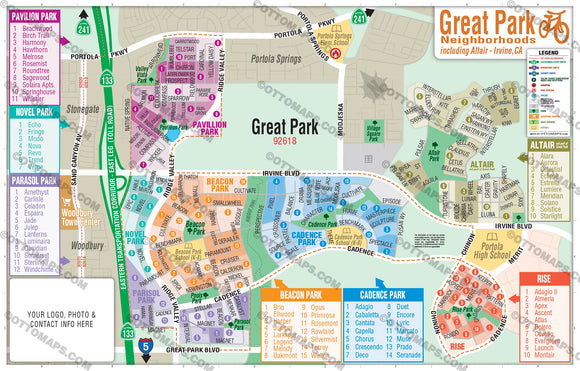 Great Park Map, Irvine - PDF, editable, royalty free