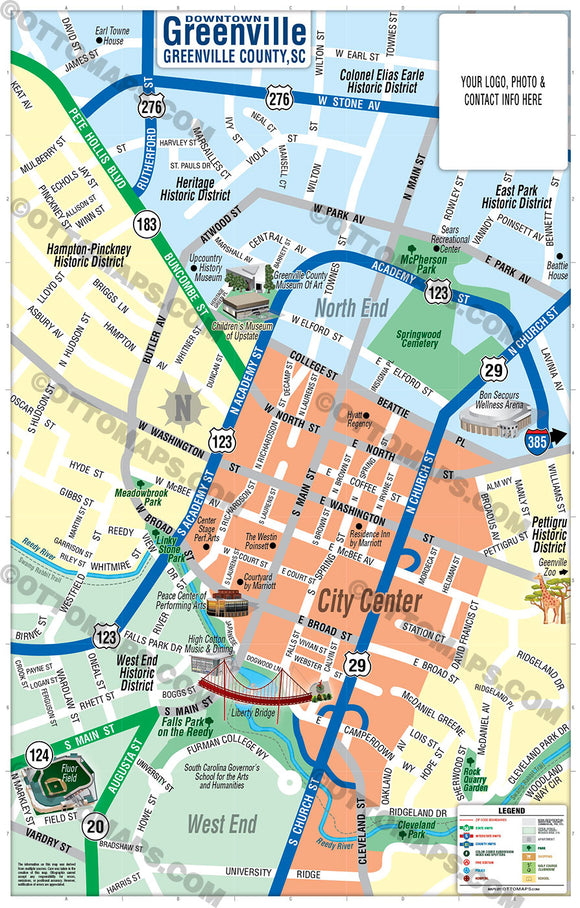 Downtown Greenville Map - PDF, editable, royalty free