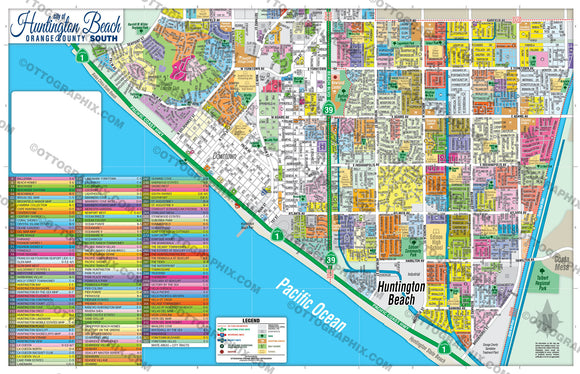 Huntington Beach Map SOUTH, Orange County, CA