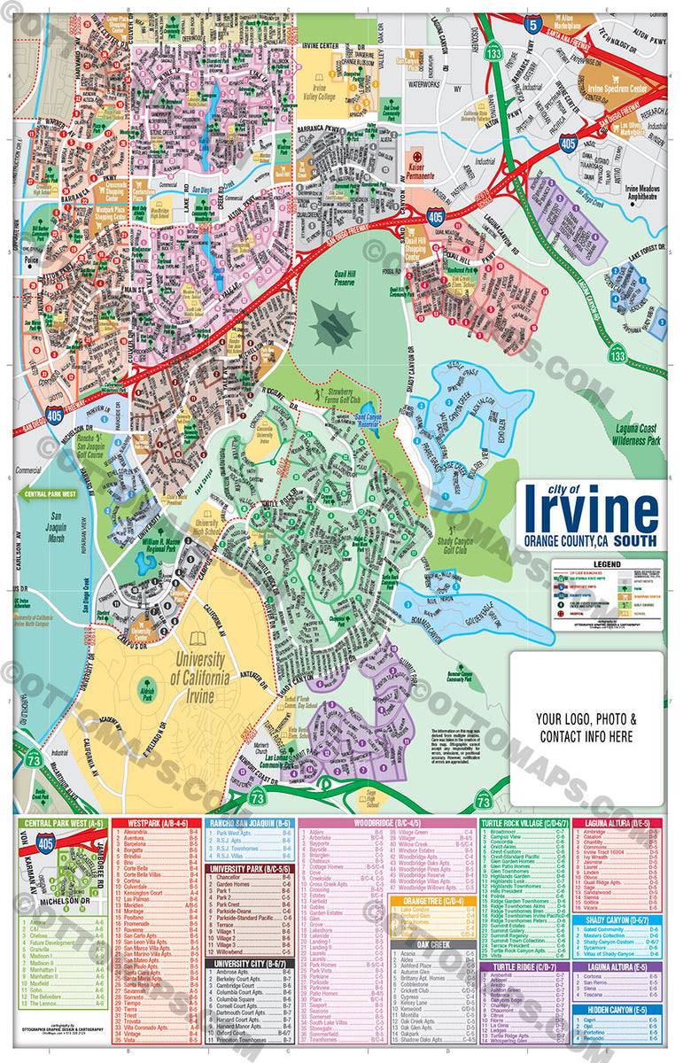 Irvine Map SOUTH, Orange County, CA