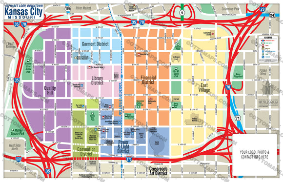 Kansas City Downtown Map (Alphabet Loop Map) - PDF, editable, royalty free