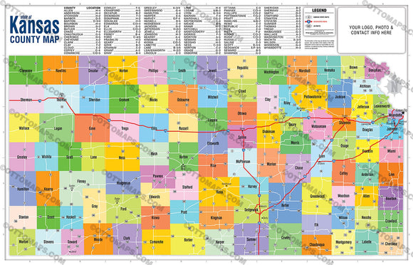Kansas State Map with County Boundaries - PDF, editable, royalty free