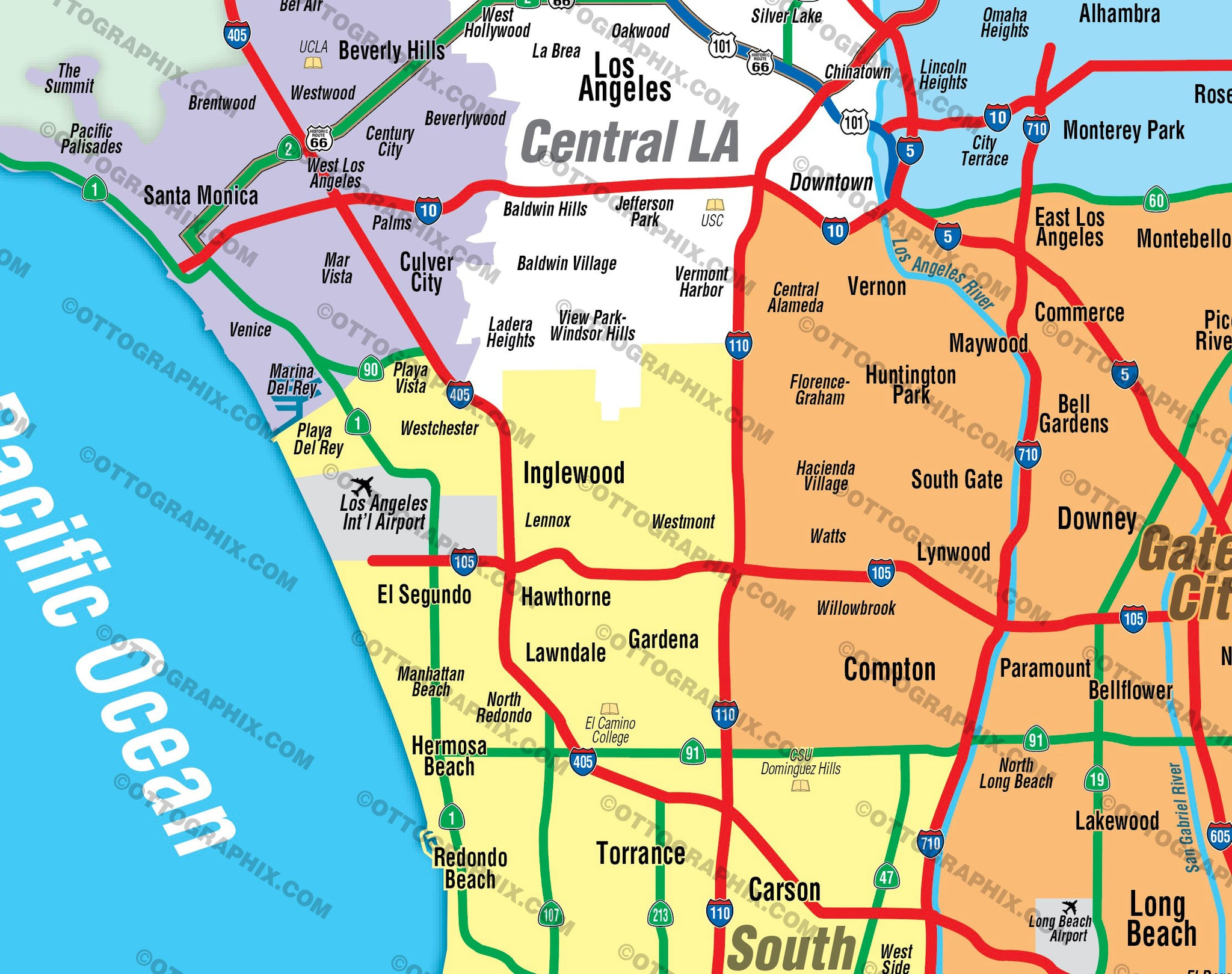 Los Angeles Map By Zip Codes.Los Angeles County Map South No Zip Codes Otto Maps