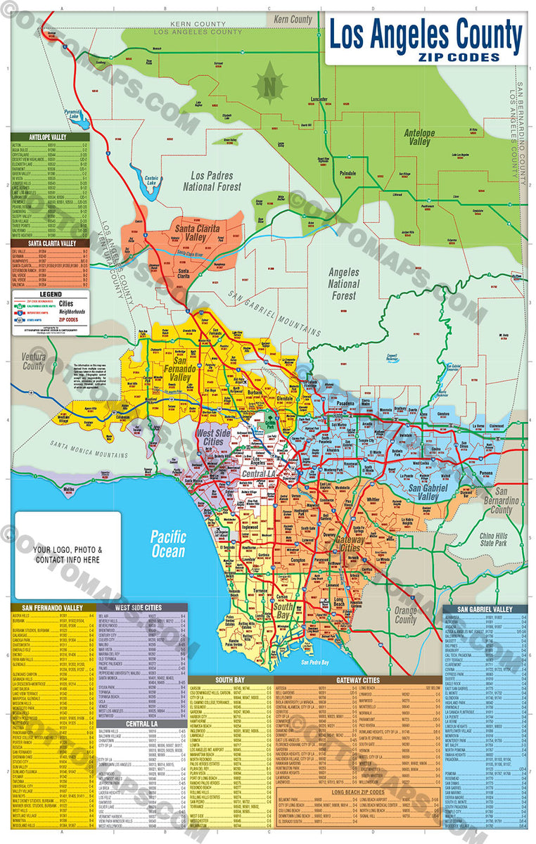 Los Angeles Zip Code Map Full County Areas Colorized Otto Maps