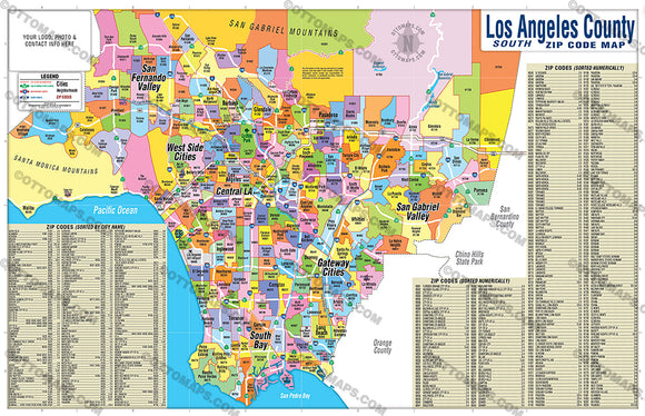 Los Angeles Map with Zip Codes - PDF, editable, royalty free