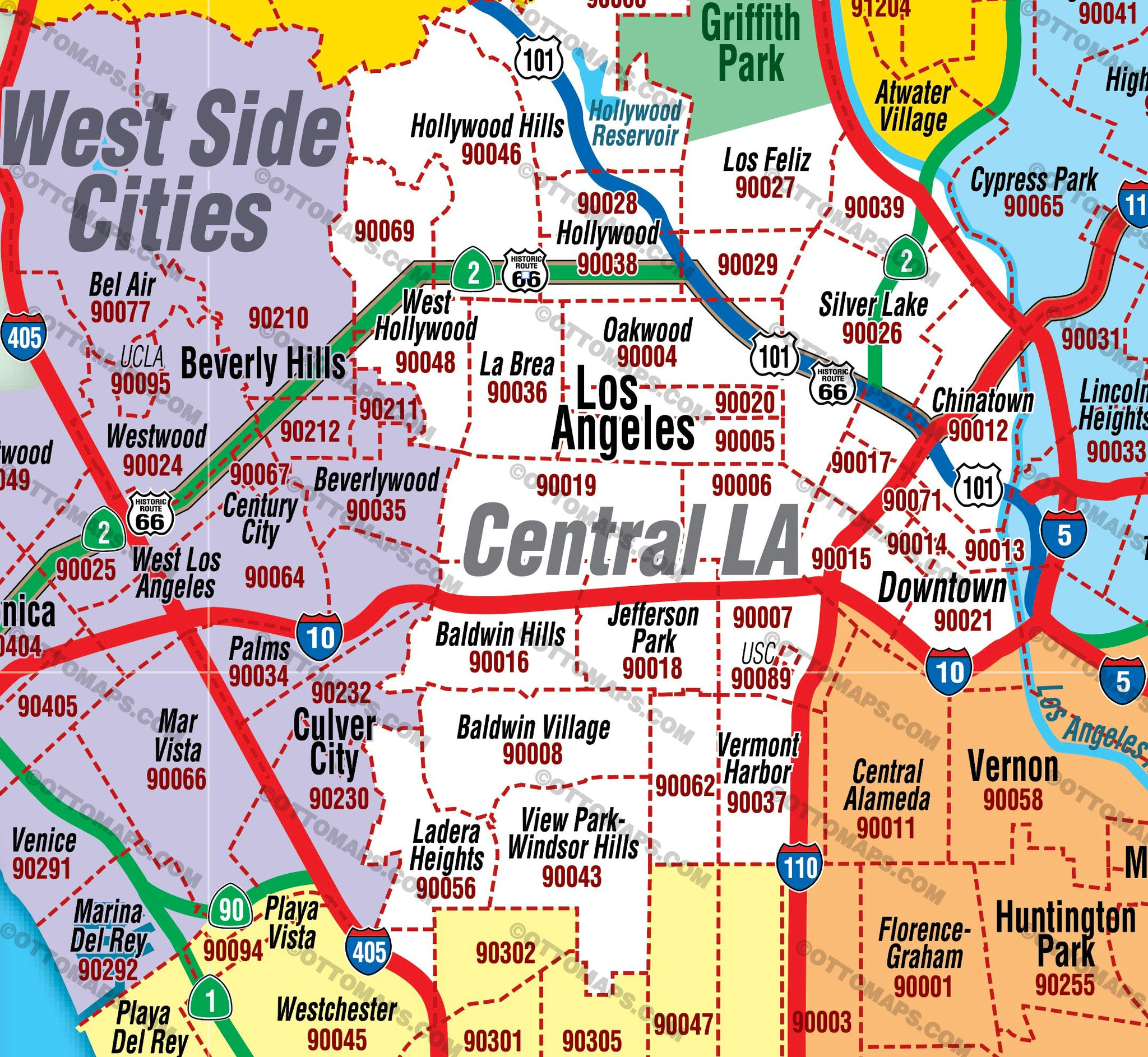 Los Angeles Zip Code Map   SOUTH County Areas colorized