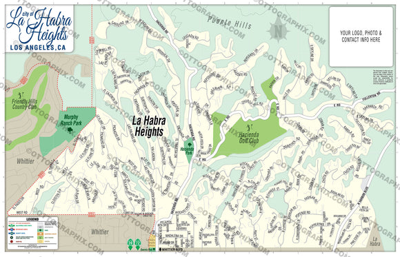 La Habra Heights Map, Los Angeles County, CA