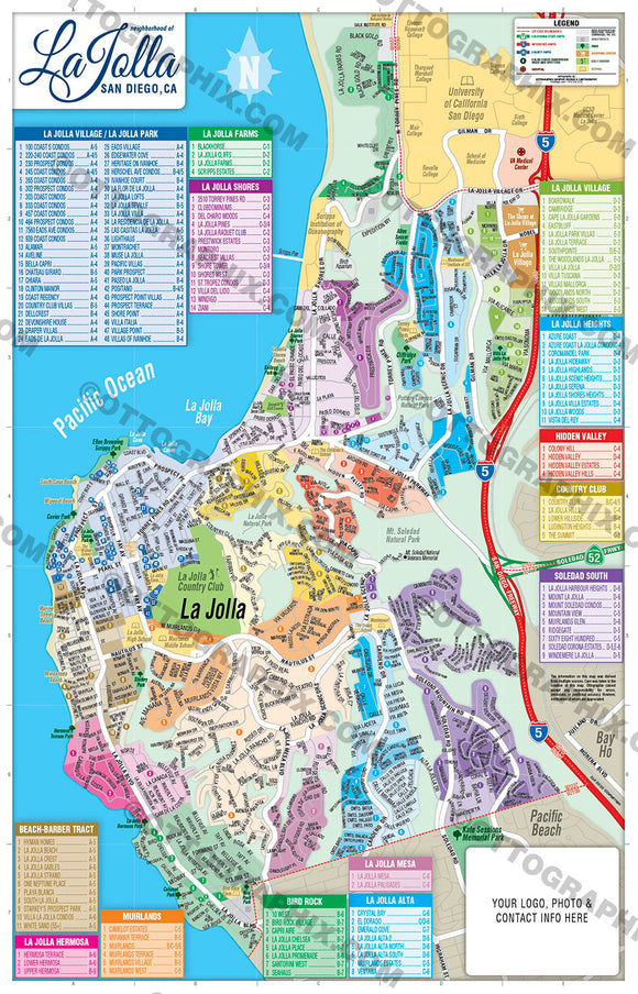 La Jolla Map, CA - Royalty Free, Vector Map