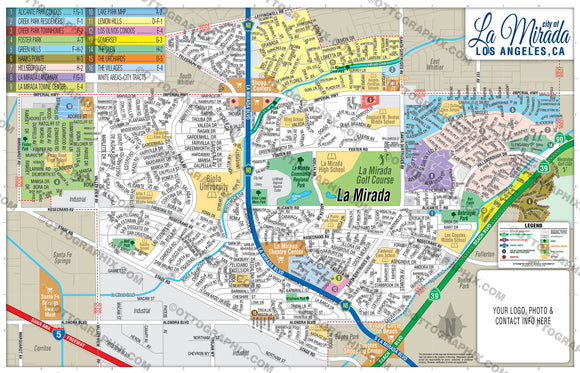 La Mirada Map, Los Angeles County, CA