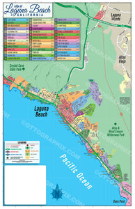 Laguna Beach Map (3 options: Full, North & South), Orange County, CA