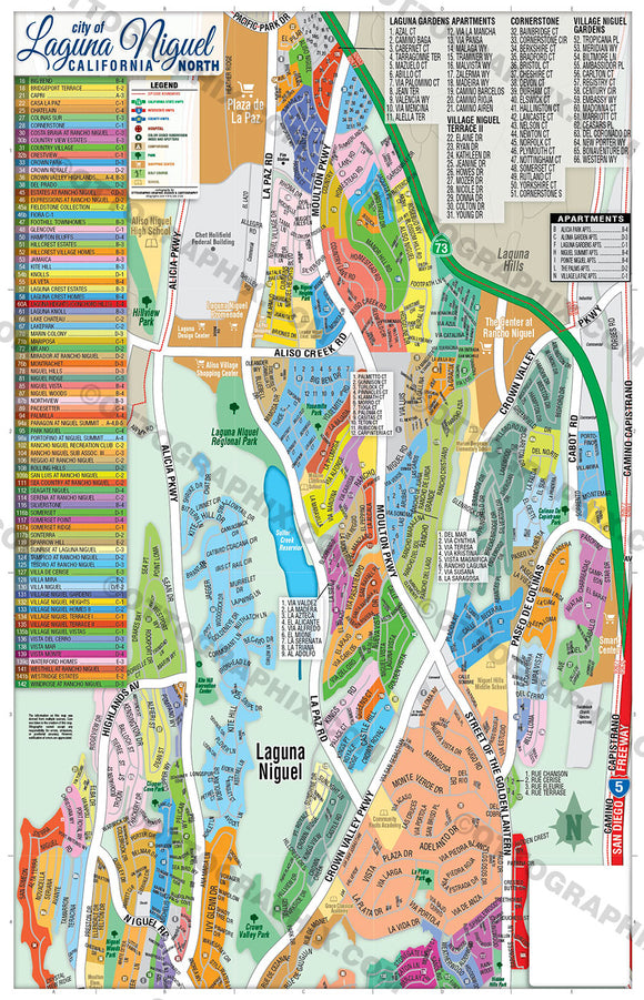 Laguna Niguel Map NORTH, Orange County, CA