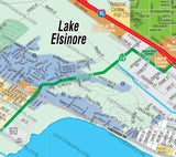 Lake Elsinore Map, Riverside County, CA - PDF, Editable, Royalty Free