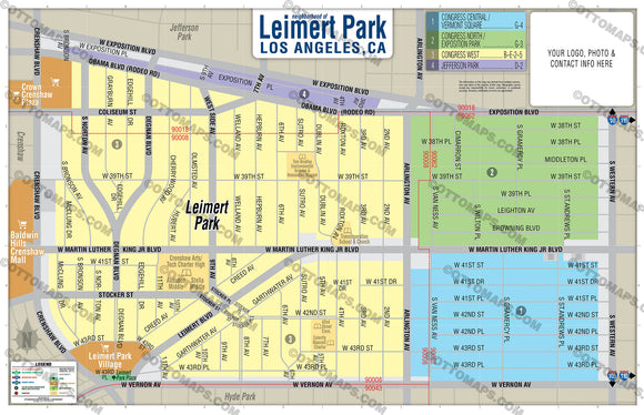 Leimert Park Map, Los Angeles - PDF, editable, royalty free