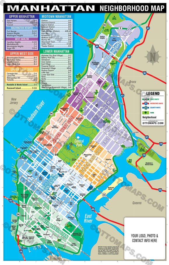 Manhattan Map - PDF, editable, royalty free