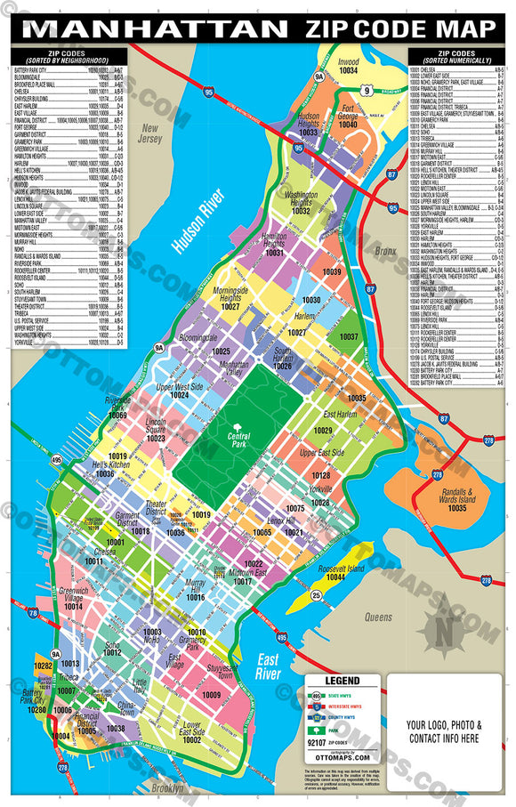Manhattan Zip Code Map - PDF, editable, royalty free