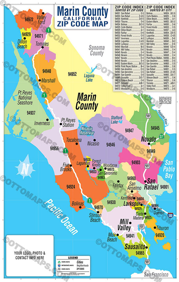 Marin County Zip Code Map - PDF, editable, royalty free