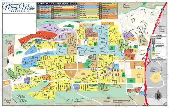 Mira Mesa Map, San Diego County, CA