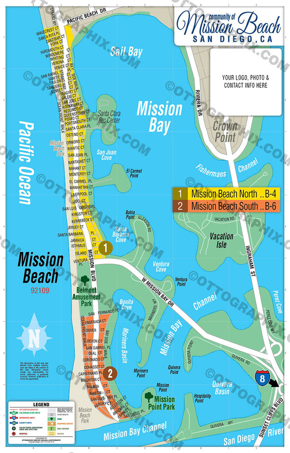 Mission Beach Map, San Diego County, CA