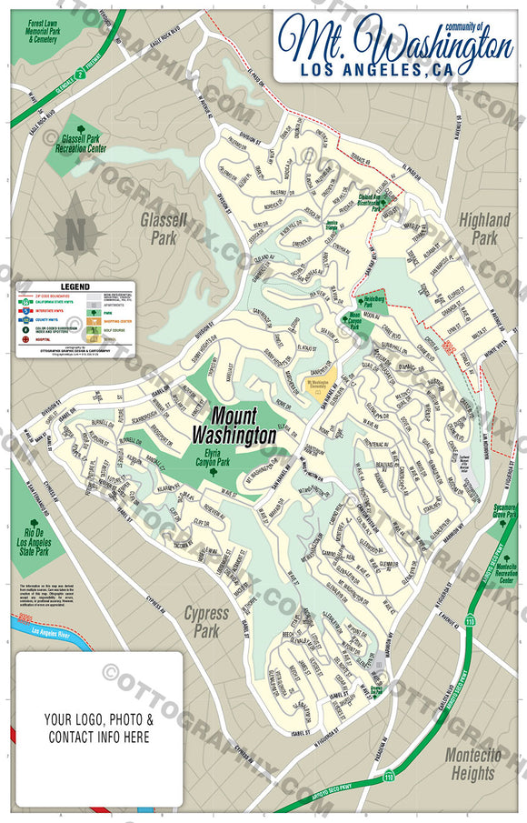 Mt. Washington Map, Los Angeles County, CA