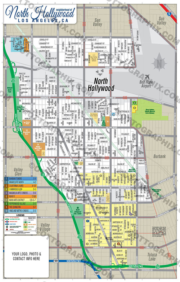 North Hollywood Map, Los Angeles County, CA
