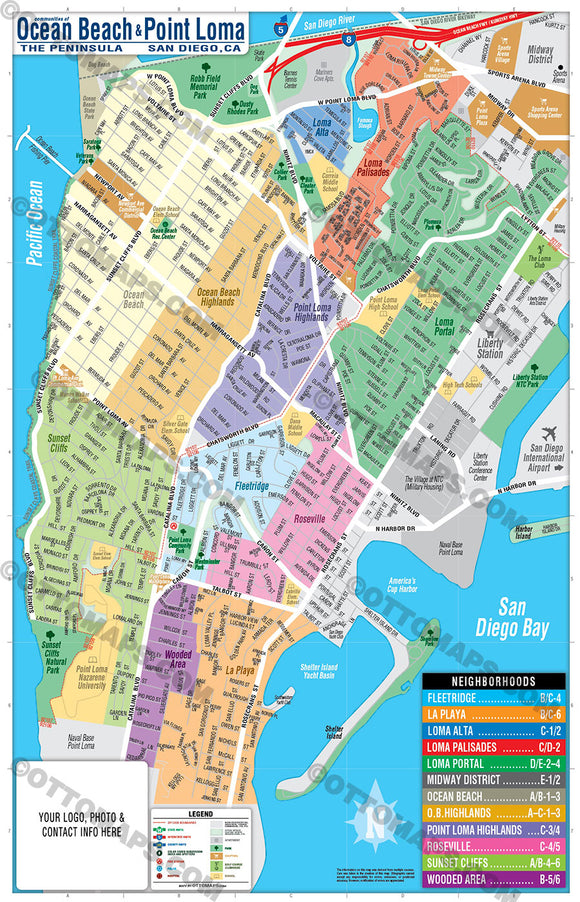 Ocean Beach Map - Point Loma Map - PDF, editable, royalty free