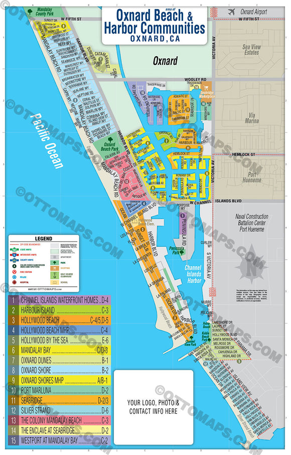 Oxnard Map - Coastal - PDF, editable, royalty free