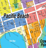 Pacific Beach and Mission Beach Map, San Diego County, CA