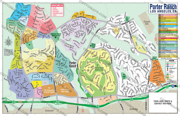 Porter Ranch Map - PDF, editable, royalty free