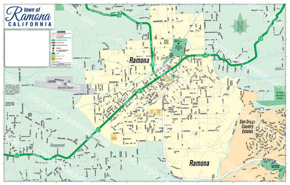 Ramona Map - PDF, Editable, Royalty Free
