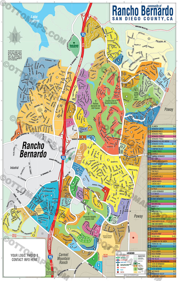 Rancho Bernardo Map, San Diego County, CA