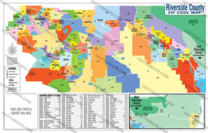 Riverside County Zip Code Map - PDF, editable, royalty free