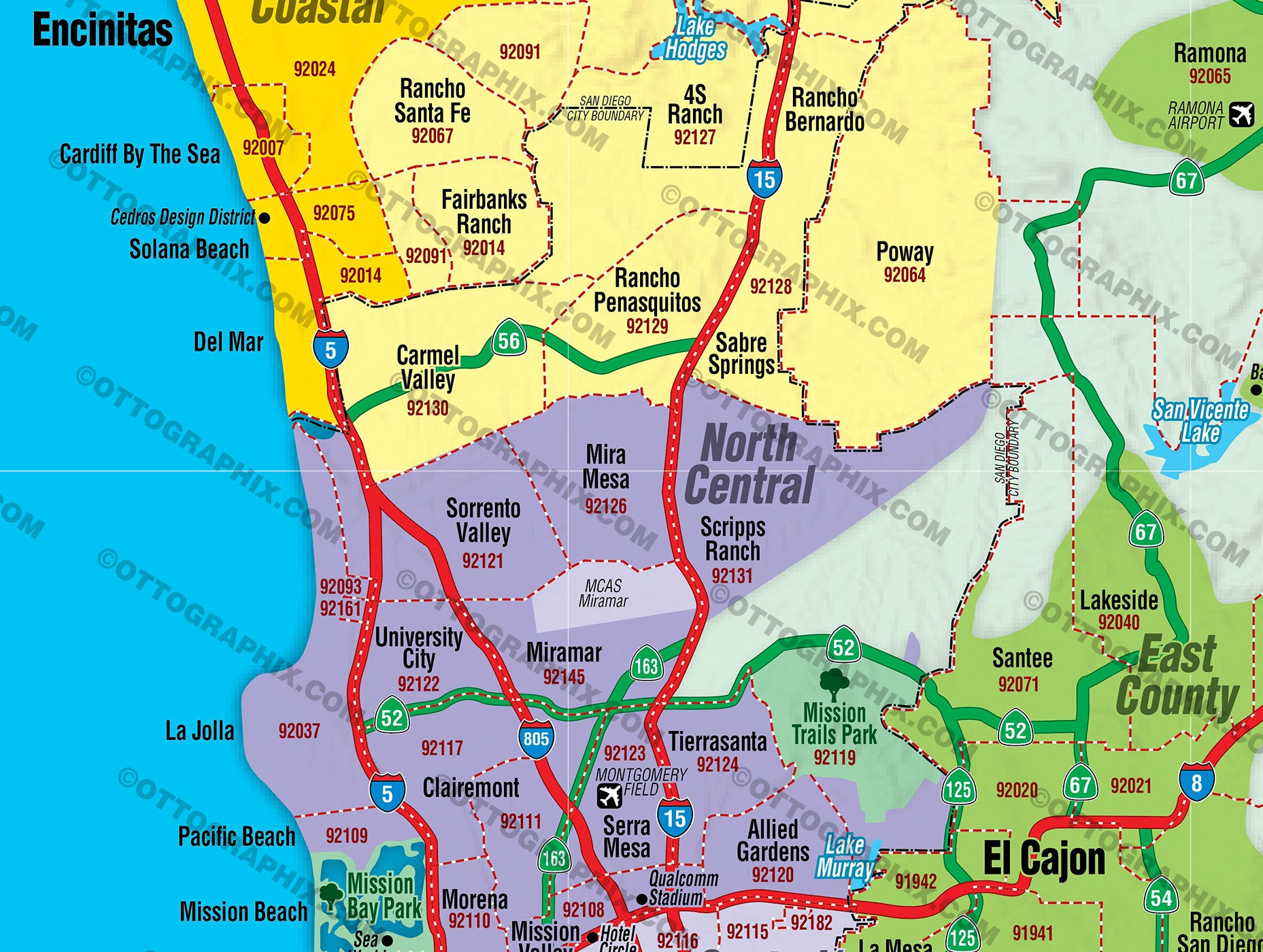 San Diego County Zip Code Map San Diego County Zip Code Map   COASTAL (County Areas colorized