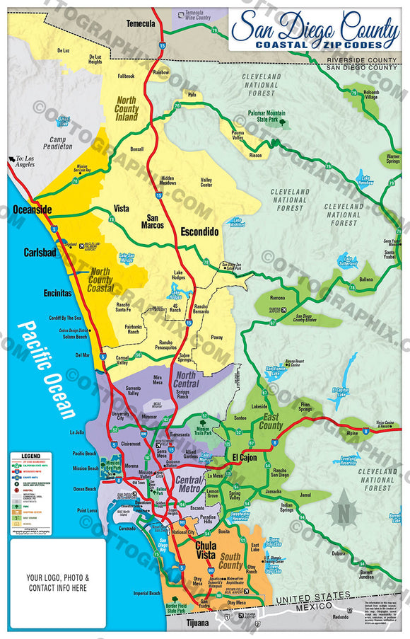 San Diego County Map - COASTAL (no zip codes)