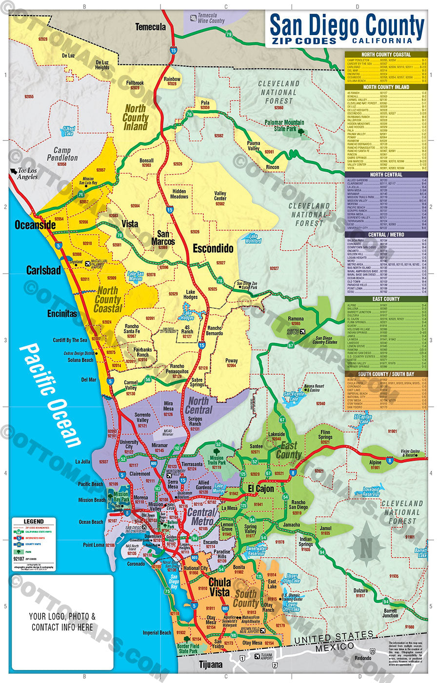 San Diego County Zip Code Map - COASTAL (with County Areas)