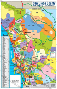 San Diego County Zip Code Map - COASTAL (Zip Codes colorized)