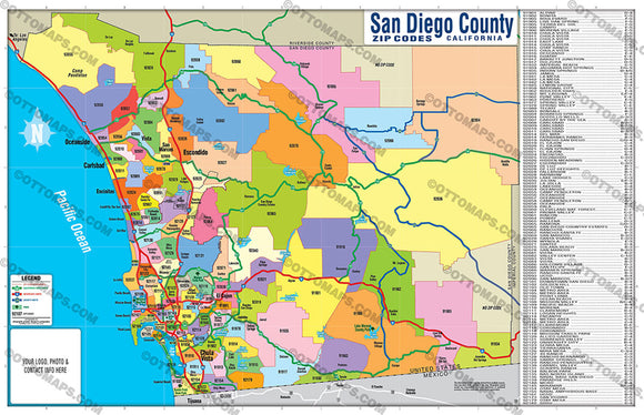 San Diego County Zip Code Map - FULL