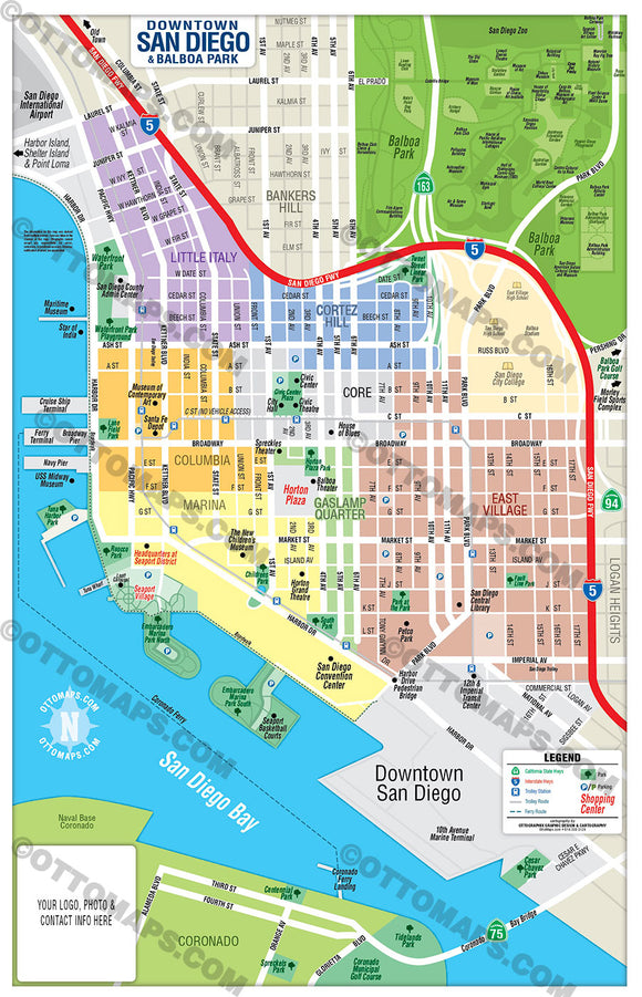 Downtown San Diego Neighborhood Map - PDF, editable, royalty free
