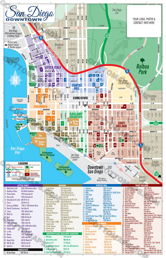 Downtown San Diego Map - PDF, editable, royalty free