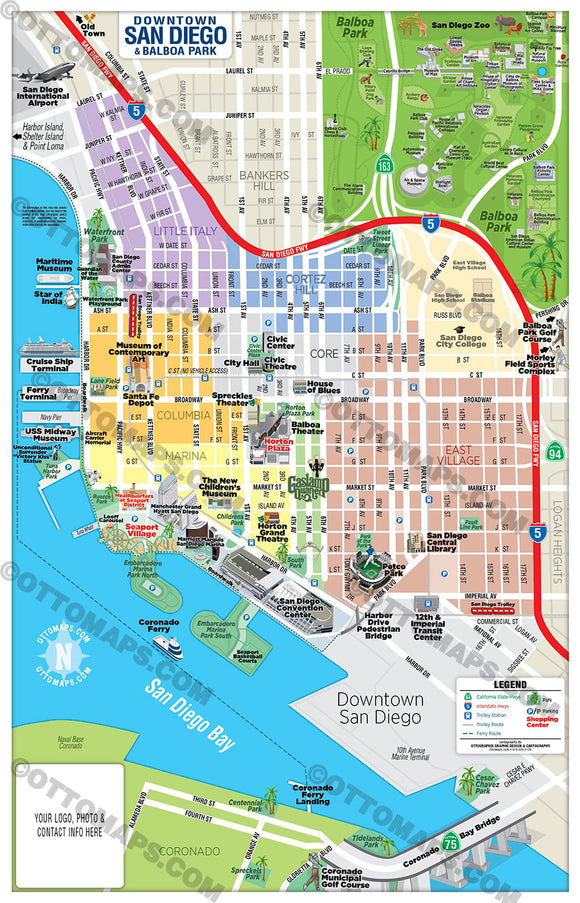 Downtown San Diego Tourist Map with Balboa Park Map - PDF, editable, royalty free maps