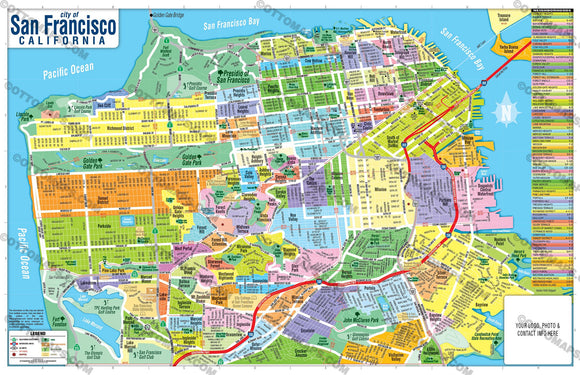 San Francisco Map - PDF, editable, royalty free